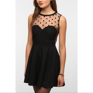 Urban Outfitters Black crepe sheer dotted dress S!